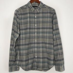 Theory plaid flannel gray/blue button down shirt